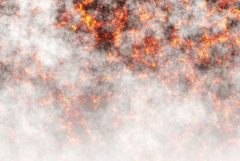 Płonąca lawa i dym podczas powulkanicznej erupci ilustracja wektor