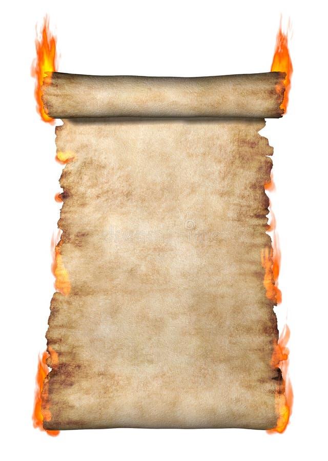 płonąca pergaminowa rolka ilustracja wektor