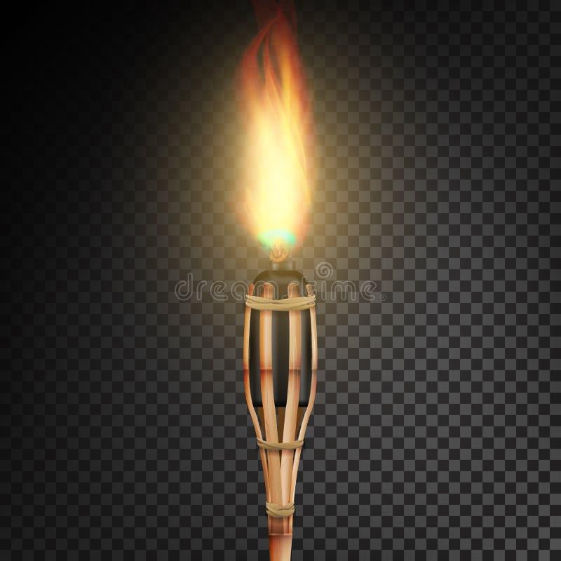 Płonąca Plażowa Bambusowa pochodnia Z płomieniem Realistyczny ogień Realistyczna Pożarnicza pochodnia Odizolowywająca Na Przejrzy ilustracji