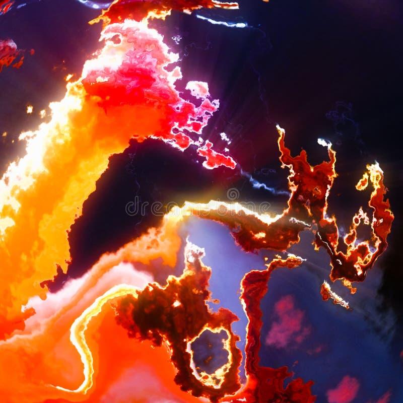 Płonąca słońce poczesność płonie, czerwone wybuch chmury royalty ilustracja