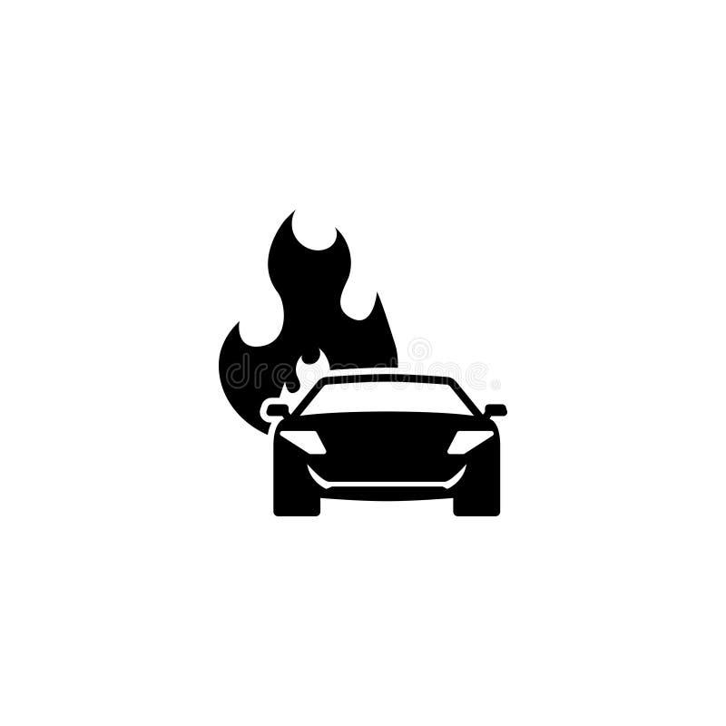 Płonąca Samochodowa Płaska Wektorowa ikona ilustracja wektor