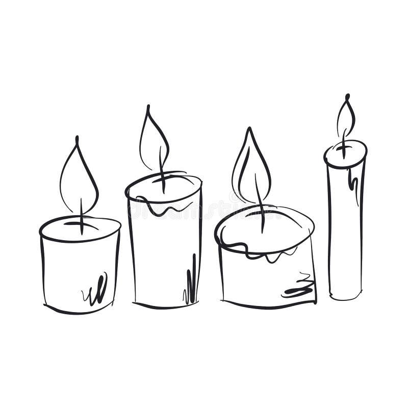 Płonące świeczki ręki rysować ilustracji ustawiać ilustracja wektor