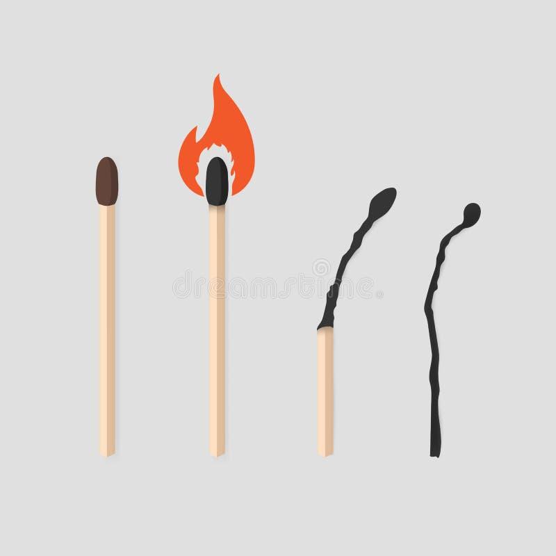 Płonące dopasowanie sceny ustawiać Matchstick z siarką, palenie i palący Kolorowa płaska wektorowa ilustracyjna kolekcja ilustracja wektor