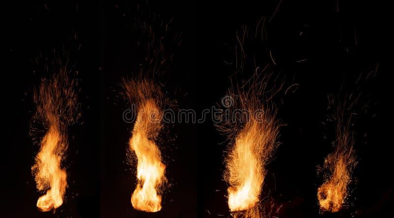 Płonące płomienie i iskry zdjęcie stock