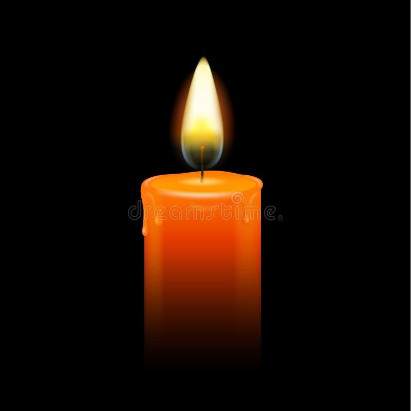 Płonącego świeczki czerni tła wektorowy opłakiwać royalty ilustracja