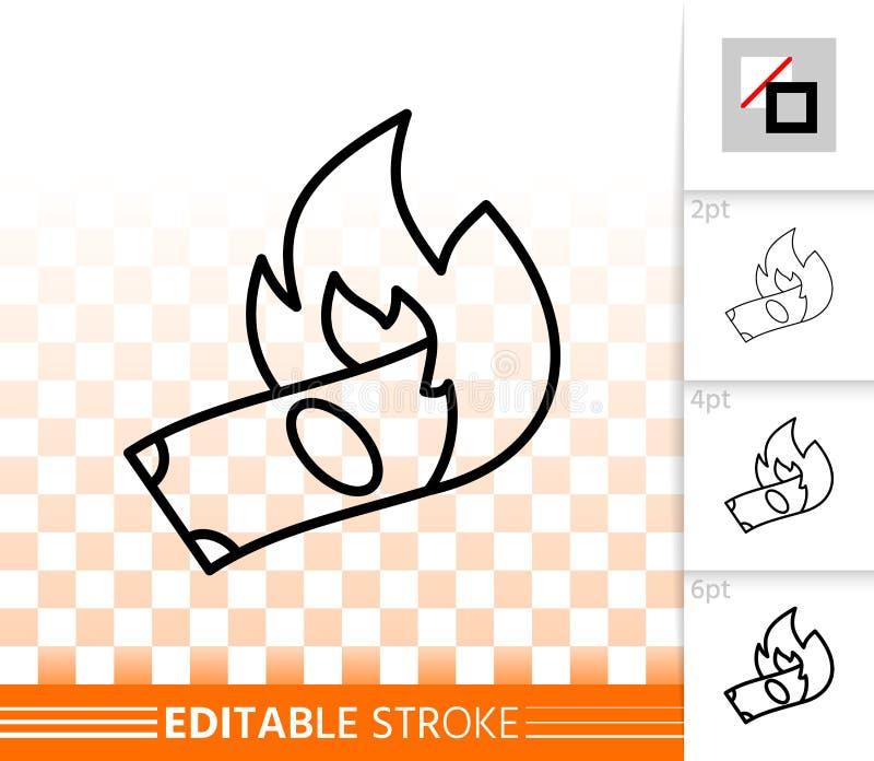 Płonącego pieniądze czerni linii wektoru prosta ikona ilustracji