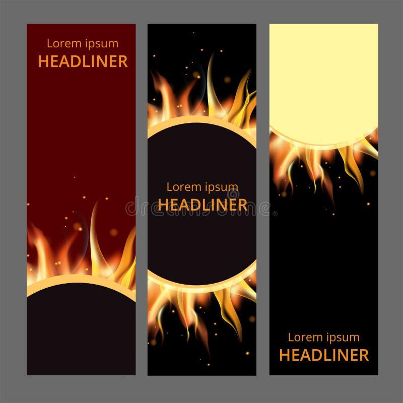 Płonącego pożarniczego ogniska gorący płomień muska realistyczny horyzontalny sztandar ustawiającą odizolowywającą wektorową ilus ilustracja wektor
