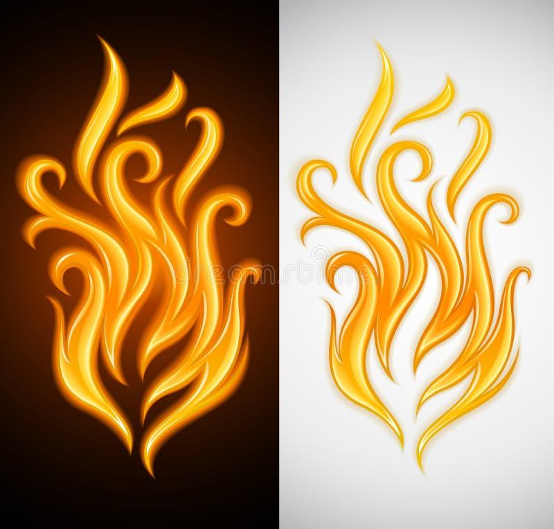 płonącego pożarniczego płomienia gorący symbolu kolor żółty ilustracji