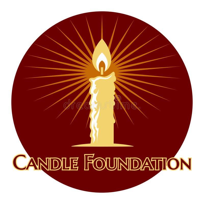 Płonący świeczka logo ilustracja wektor