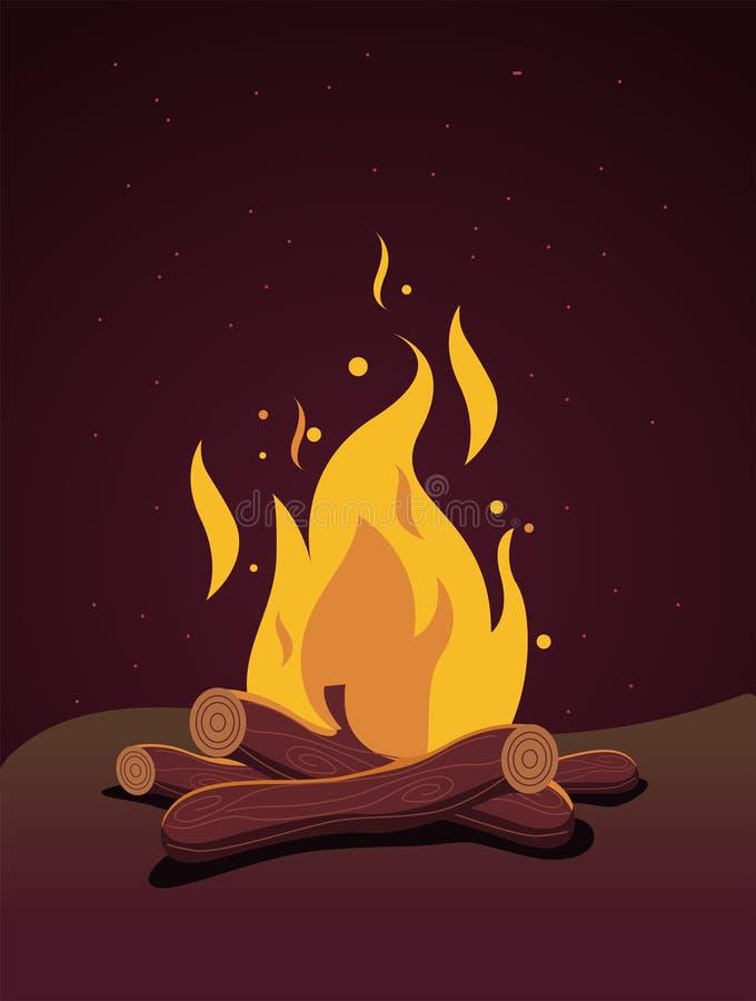 Płonący bonu ogień w nocy, wektorowy materiał ilustracji