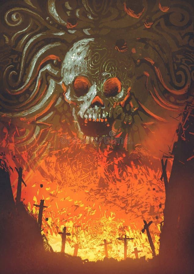 Płonący cmentarz w czaszki jamie ilustracji
