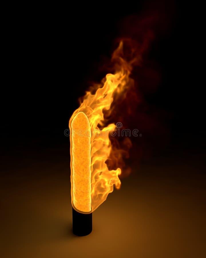 Płonący dildo royalty ilustracja
