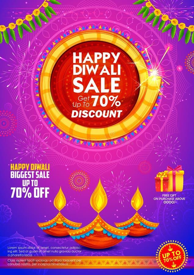 Płonący diya na szczęśliwym Diwali sprzedaży promoci reklamy Wakacyjnym tle dla lekkiego festiwalu India royalty ilustracja