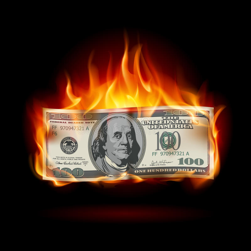 Płonący dolar ilustracji