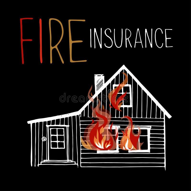 Płonący dom, ogień z okno ilustracja wektor