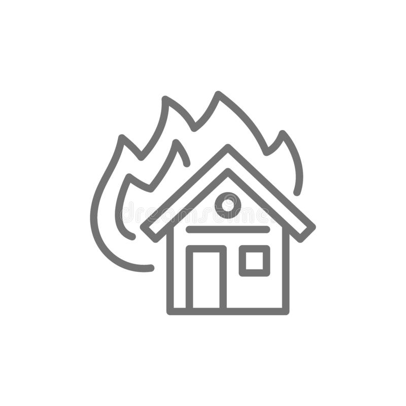 Płonący dom, pożarniczego ubezpieczenia linii ikona pojedynczy białe tło royalty ilustracja