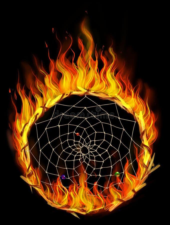 Płonący dreamcatcher ilustracji