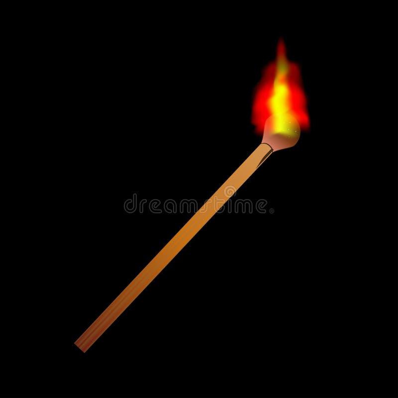 Płonący gładzi płomienia matchstick ilustracja wektor