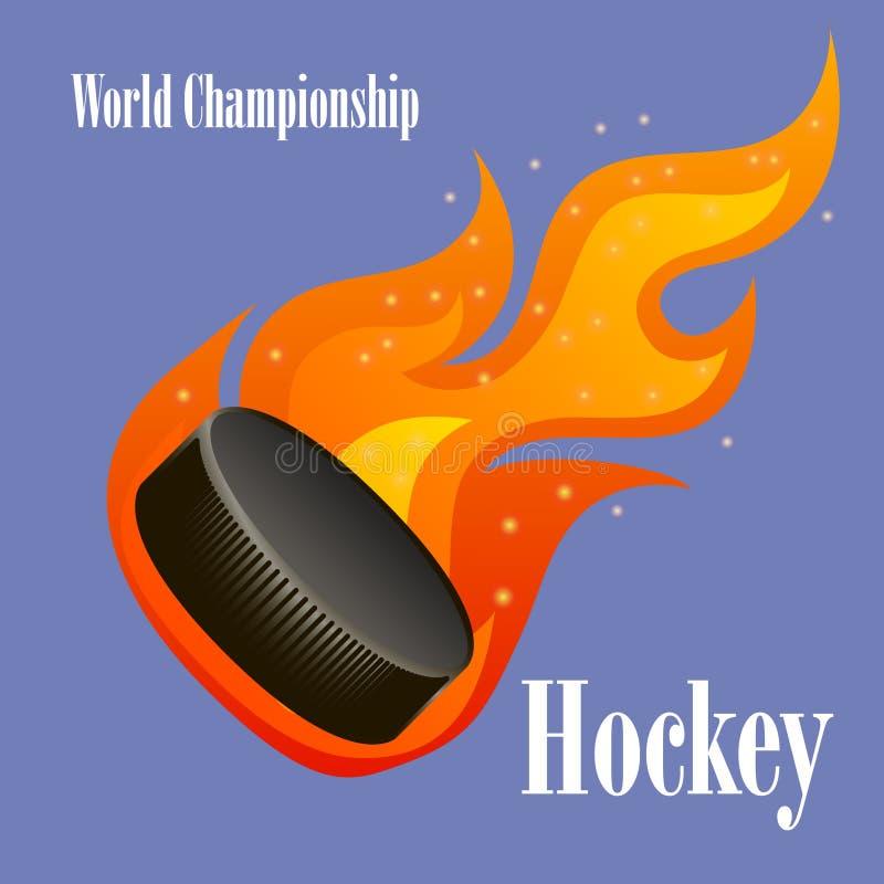 Płonący hokejowy krążek hokojowy ilustracja wektor