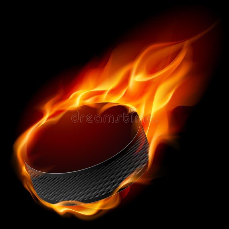 Płonący hokejowy krążek hokojowy royalty ilustracja