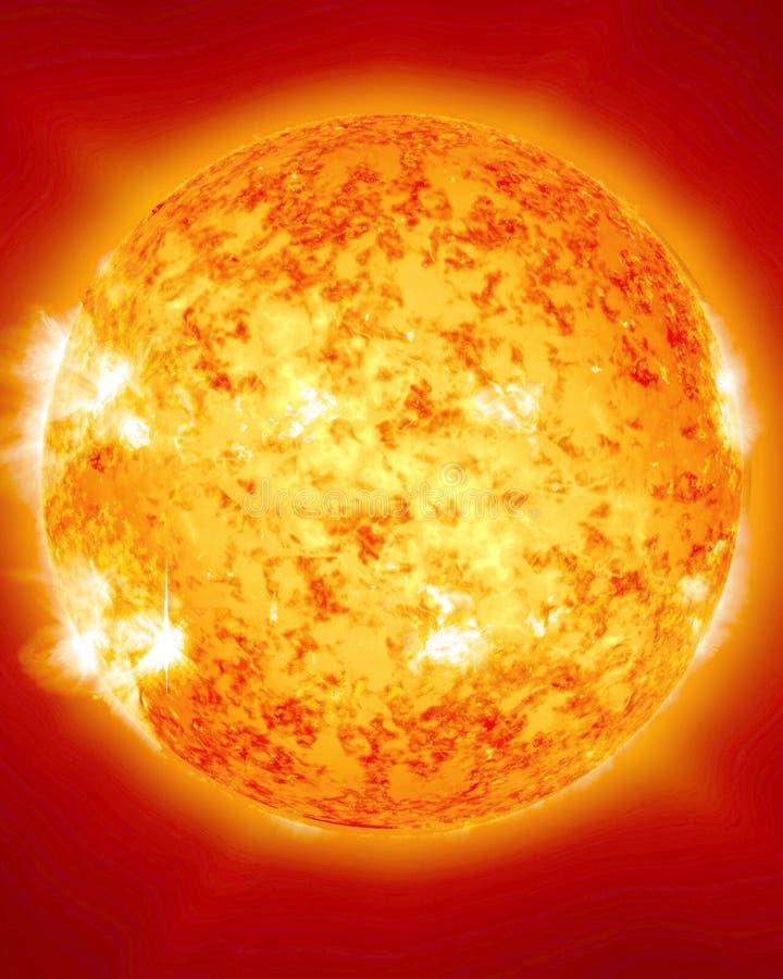 Płonący i ognisty słońce royalty ilustracja