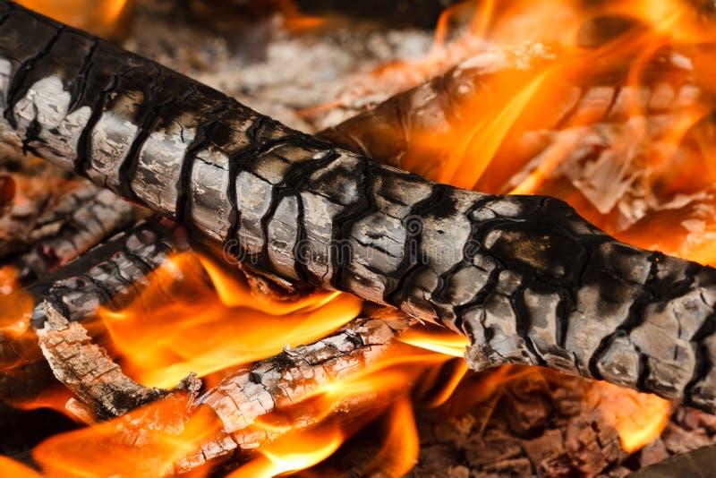 Płonący i rozjarzony węgiel drzewny z zdjęcia royalty free