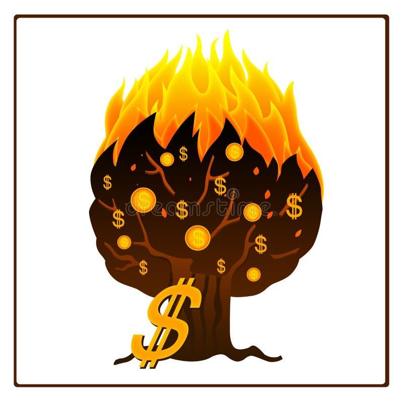 płonący ikony pieniądze drzewo ilustracja wektor