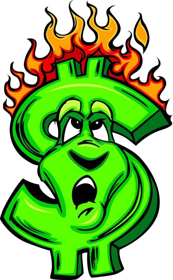 płonący kreskówki twarzy pieniądze ilustracja wektor