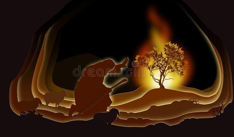 płonący krzak Moses royalty ilustracja