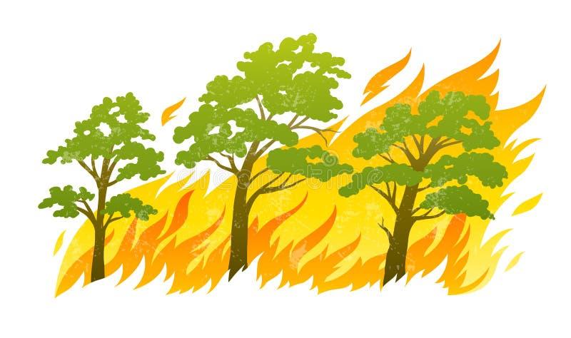 Płonący lasowi drzewa w pożarniczych płomieniach royalty ilustracja