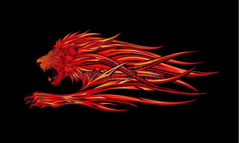płonący lew royalty ilustracja