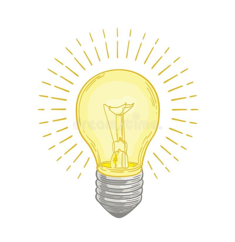 Płonący lightbulb jarzy się z jaskrawą żółtego światła ręką rysującą na białym tle Rysować elektryczna lampa symbol ilustracji