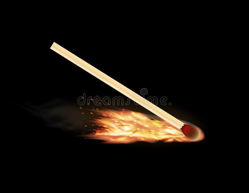 Płonący matchstick na czarnym tle ilustracja wektor