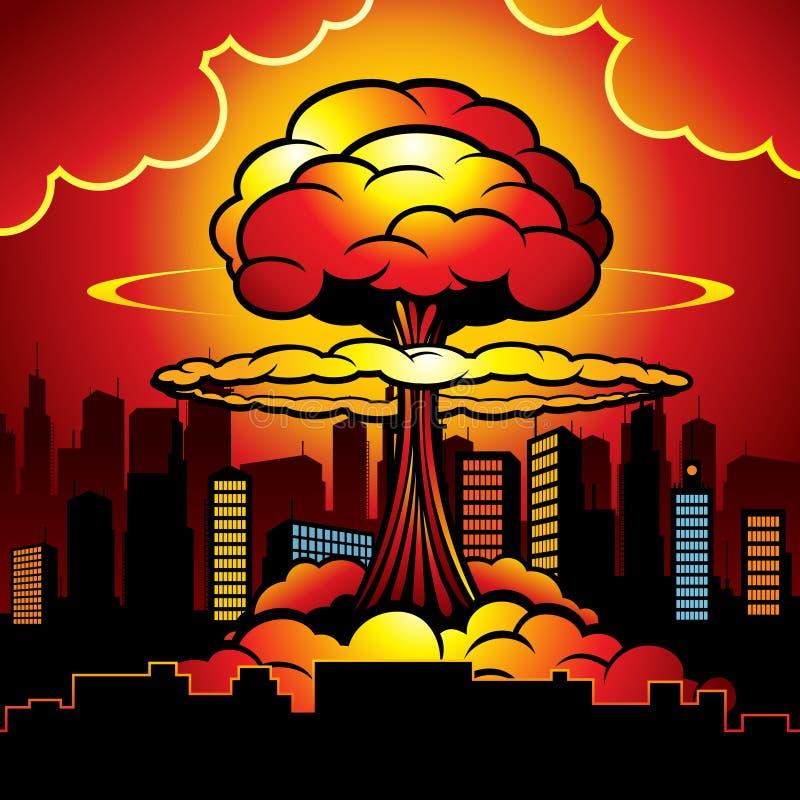Płonący miasto z wybuchem bomby atomowej atomowa bomba obcy kreskówki kota ucieczek ilustraci dachu wektor ilustracja wektor