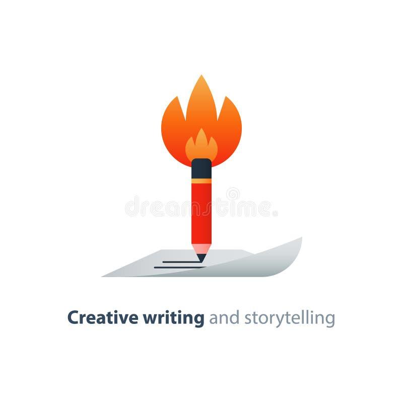 Płonący ołówek, kreatywnie writing pojęcie, opowieść mówi wektorową ikonę royalty ilustracja