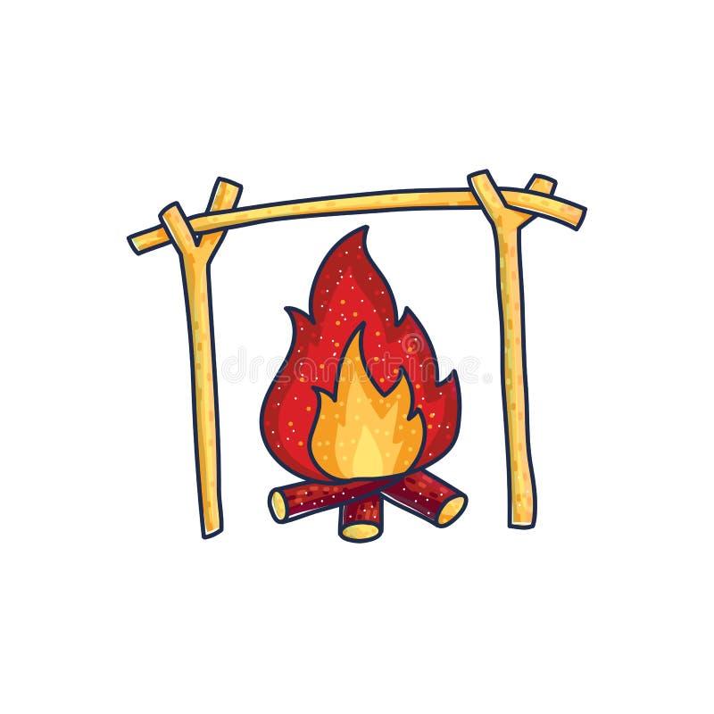 Płonący ogień caveman ilustracji