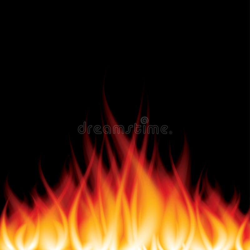 Płonący ogień na czarnej wektorowej ilustraci royalty ilustracja