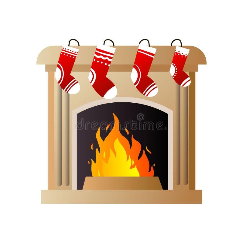 Płonący ogień w brąz kamiennej grabie z Bożenarodzeniowymi czerwonymi skarpetami ilustracja wektor