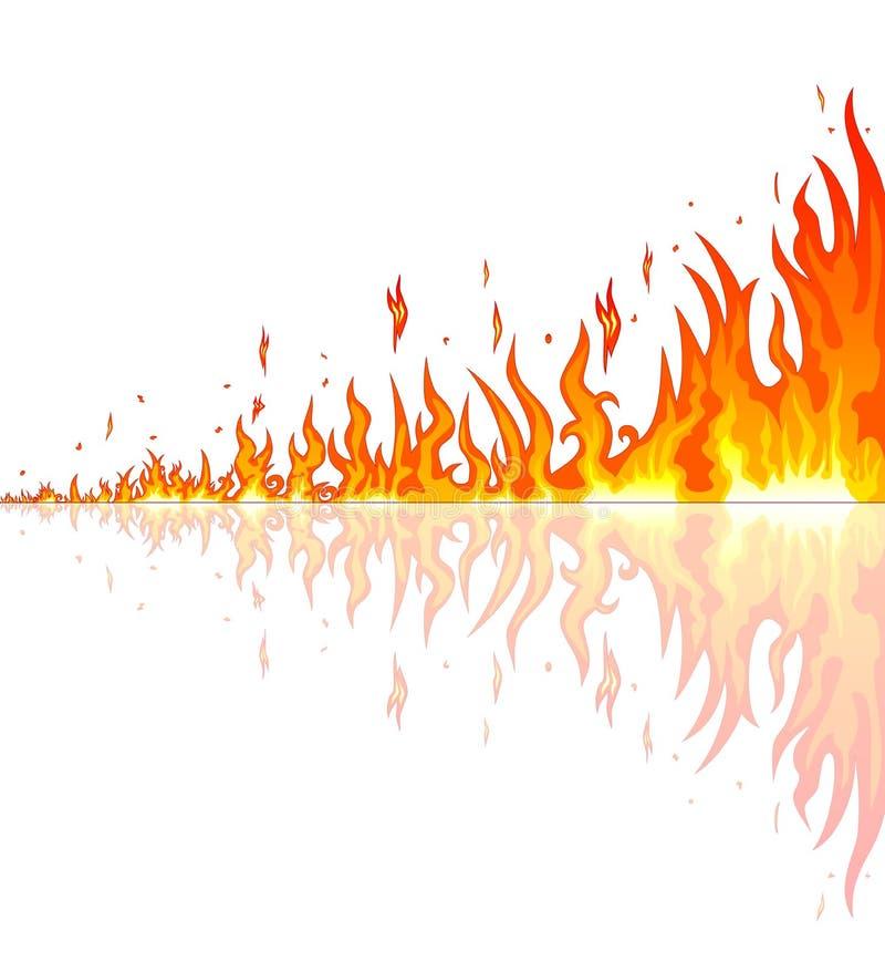Płonący ogień z odbiciem royalty ilustracja