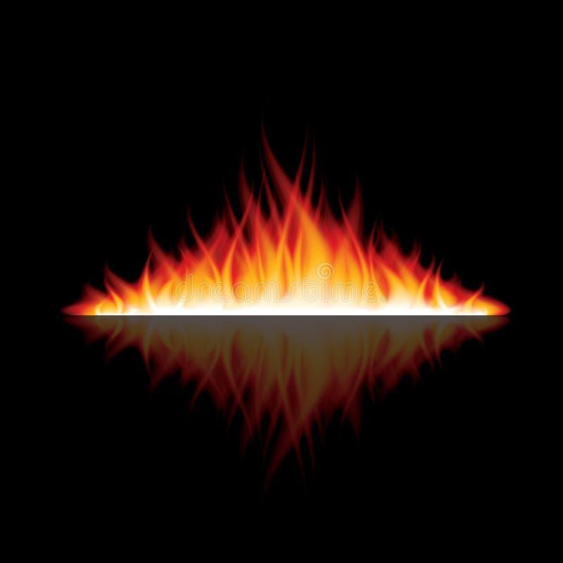 Płonący ogień z odbiciem na czarnym wektorze ilustracja wektor
