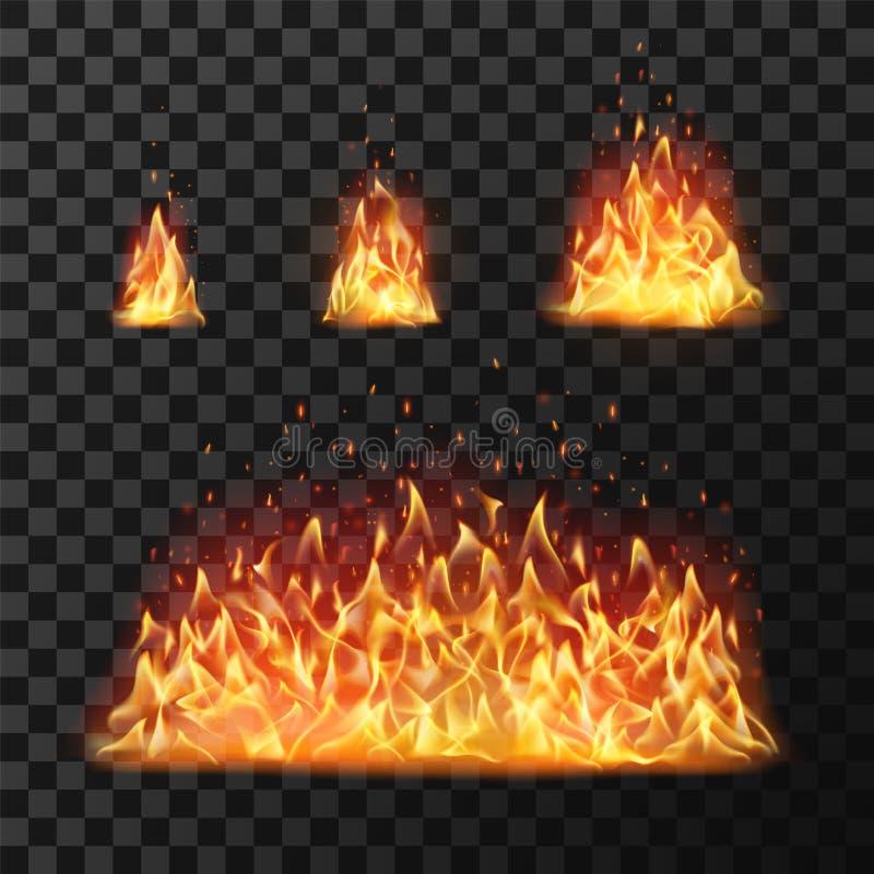 Płonący ogieni płomienie lub gorąca płomienna blask kula ognista Płonąć ogienia wektoru odosobnionego set royalty ilustracja