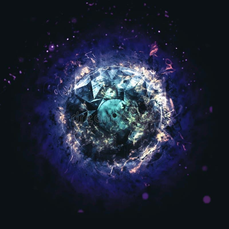 Płonący okrąg Odizolowywający na ciemnym tle - błękit - ilustracji