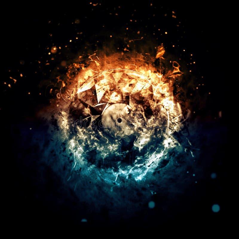 Płonący okrąg Odizolowywający na ciemnym tle - ogień i lód - ilustracja wektor