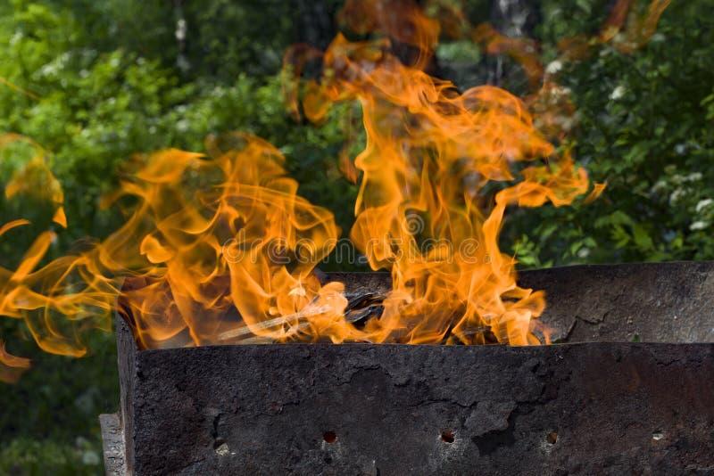 Płonący płomień na tle trawy i skał zamkniętych fotografia stock