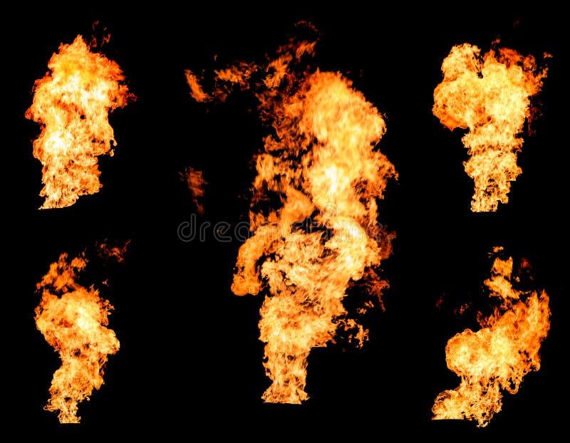 Płonący pożarniczego rozszalałego płomień palenie gazuje kolekcję lub oliwi zdjęcie royalty free