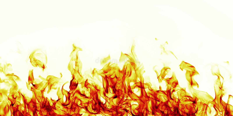 Płonący pożarniczy płomień na białym tle royalty ilustracja