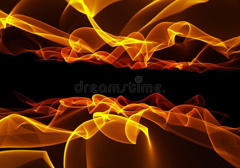 Płonący pożarniczy płomień na czarnym tle na dużym postanowieniu ilustracji