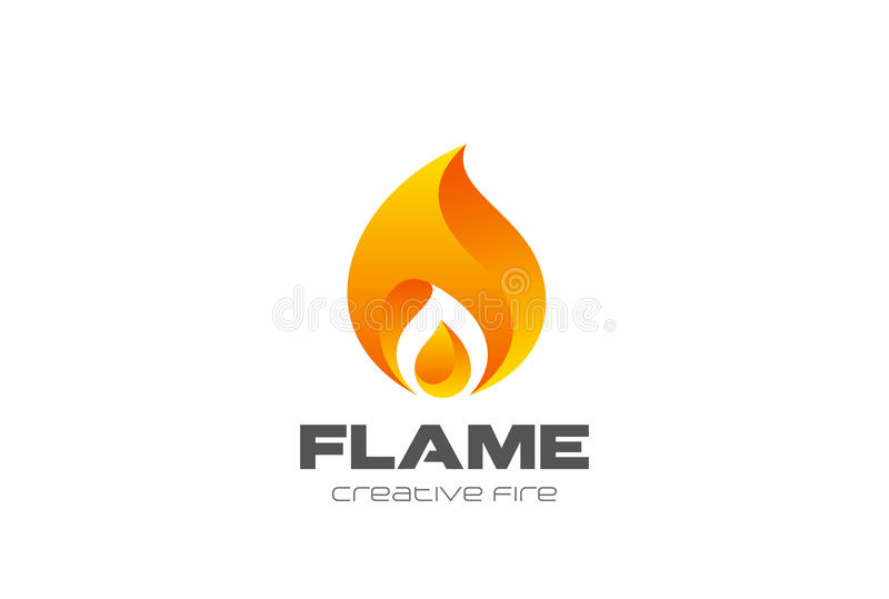 Płonący Pożarniczy płomienia loga projekta wektoru szablon royalty ilustracja