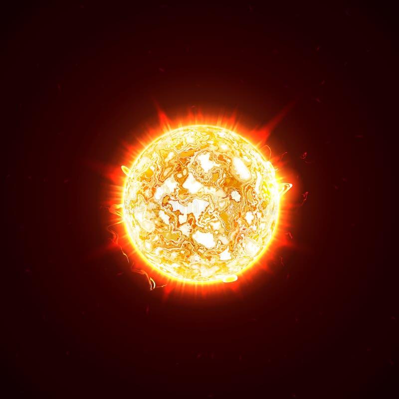 Płonący realistyczny 3D słońce, błyski, świecenie, raca, iskrzy, płomienie, upał i ogieni promienie, Pomarańcze, gorąca, pozaziem ilustracja wektor