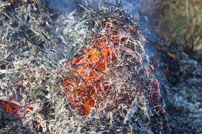 Płonący słomiany zakończenie obrazy stock